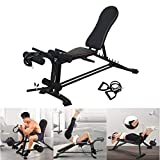 1962 Weight Bench, Adjustable Sit Up AB Incline Abs Bench Flat Fly Weight Press Gym Fitness Rope-...