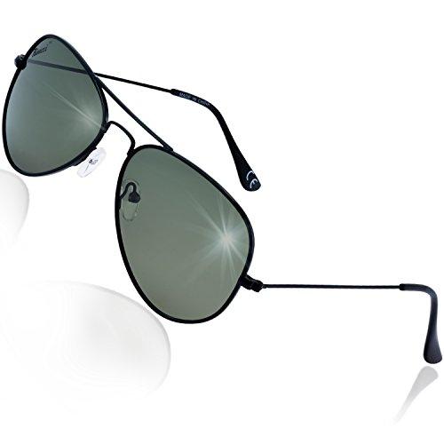 Rivacci Gafas de Sol Aviador Hombre Mujer Polarizadas - Marca Retro/Vintage – Lentes Piloto Deportivas – Negras / G15 (verde/gris) Polarizado