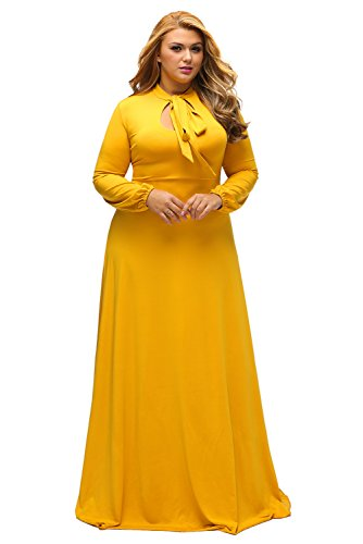 Lalagen Women's Vintage Long Sleeve Plus Size Evening Party Maxi Dress Gown YellowXL