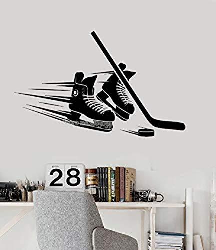 Wandaufkleber und Wandbilder 68x42 cm Wandaufkleber Kunst Aufkleber Decor Poster Skates Stick Puck Ausrüstung Vinyl Wandtattoo für Wohnzimmer Schlafzimmer Wohnkultur Hockey Player Aufkleber Kunst
