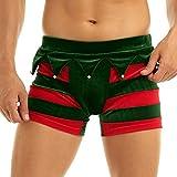 Yeahdor Herren Weihnachtself Kostüm Samt Boxershort Gestreifte Lustig Unterhose mit Glocken Erotische Dessous Reizwäsche