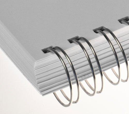 Renz One Pitch Drahtkamm-Bindeelemente in 2:1 Teilung, 23 Schlaufen, Durchmesser 9.5 mm, 3/8 Zoll, silber/matt