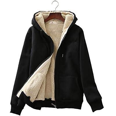 Flygo Womens Casual Winter Warm Sherpa Fleece Lined Full-Zip Hooded Jacket Coat (Large, Black)