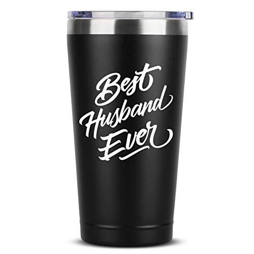 Best Husband Ever - 16 oz Black Insulated Stainless Steel Tumbler w/Lid Mug Cup - Birthday Valentines Fathers Day Christmas Gift Ideas from Wife - Funny Present Idea for Groom - Unique Gifts Presents
