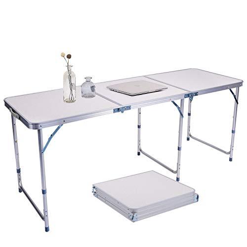 lillimasy Aluminium Klapptisch Campingtisch 180x60 cm, Klapptisch als Multifunktionstisch Nutzbar Küche/Arbeit Tisch für Picnic Party