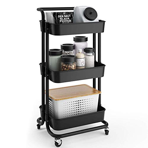 YOOKEA Rollwagen Servierwagen Küchenwagen mit 3 Etagen Roll Regal für Wohnzimmer, Küche, Büro mit Rollen Schwarz