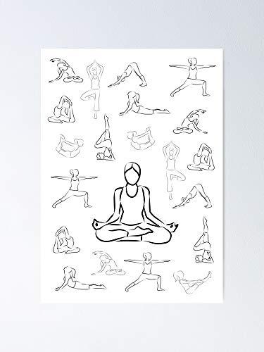 MCTEL Black and White Yoga White Background Poster