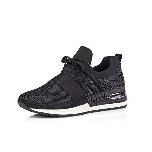 Remonte Damen Schnürhalbschuhe R2502, Frauen sportlicher Schnürer, strassenschuh Sneaker Damen,schwarz,37 EU / 4 UK