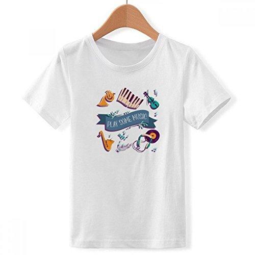 DIYthinker Jongens Elektrische Piano Muziek Headset Geluiden Crew Neck Wit T-Shirt