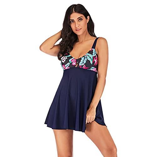 HDSJJD Traje De Baño De Falda De 2 Piezas De Talla Grande para Mujer Bañadores con Estampado De Espalda De Belleza Sexy,Azul,M