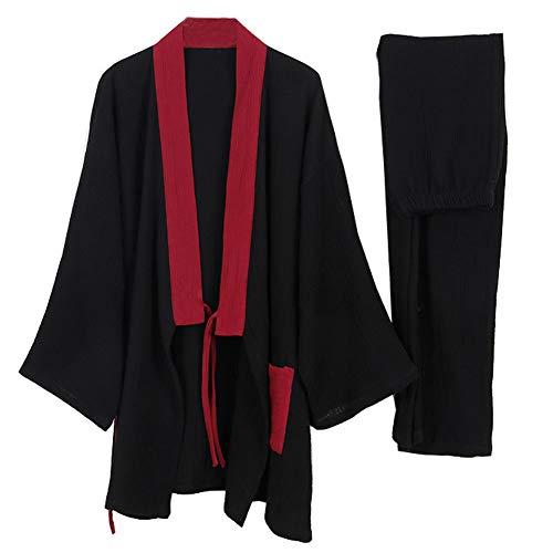 un-brand Japanischer Kimono-Baumwoll-Hanfu-Pyjama-Anzug für Herren in Übergröße Zen-Kleidung Taoistische Kleidung (Größe XL, B)