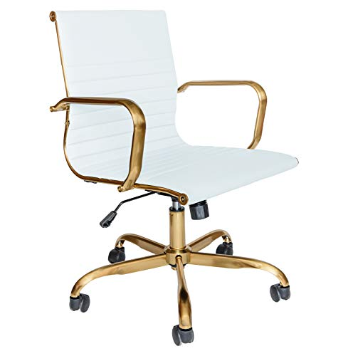 LeisureMod Harris Modern Adjustable Executive Swivel Leatherette Task Gold Office Chair (White)