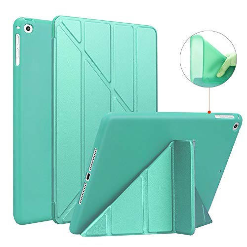 Ultra Slim Magnetic Shockproof Flip Stand Soft TPU Back Cover Tablet Shell Smart Case(Mint Green)