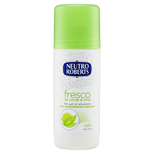 Neutro Roberts, Deodorante Stick Fresco con Té Verde e Lime, Zero Sali di Alluminio, Zero Macchie Deodorante Uomo e Donna, Dermatologicamente Testato, Flacone da 40 ml