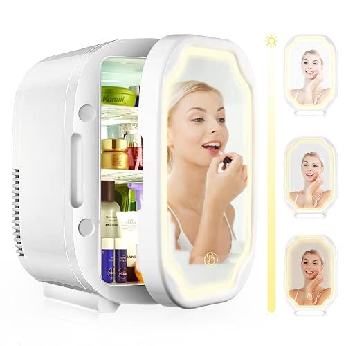 EZGETOP Mini Nevera 8 Litros 12V 220V Espejo de Maquillaje para Cosméticos (White)