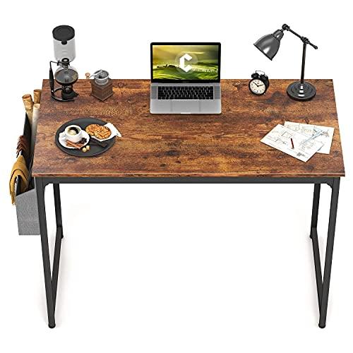 CubiCubi Escritorio de estudio para computadora de 32 pulgadas, escritorio pequeño, moderno estilo simple, marco de metal negro, marrón rústico
