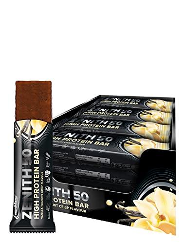 IronMaxx Zenith 50 High Protein Bar - 16er Pack - 45g Pro Protein-Riegel - Vanille Joghurt - Low Carb Eiweiß-Riegel mit 50% Eiweiß und nur 0,9g Zucker pro Riegel - Designed in Germany