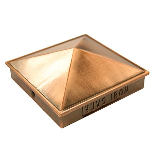 Nuvo Iron 3.5' x 3.5' (Nominal 4'x 4') Pyramid Ornamental Aluminium Post Cap Copper Plated