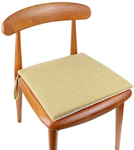 Egosola Cushion Thick Cotton and Linen Chair Pad,Non Slip Breathable Solid Color Dinner with Ties for Reduces Pressure (Color : Light Green, Size : 40x40cm(16x16inch))