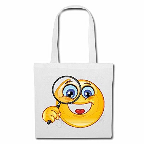 Tasche Umhängetasche FRÖHLICHER Smiley MIT GROSSER Lupe Smileys Smilies Android iPhone Emoticons IOS GRINSE Gesicht Emoticon APP Einkaufstasche Schulbeutel Turnbeutel in Weiß