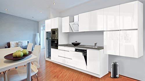 respekta Premium grifflose Küchenzeile Küche 445 cm Weiss Hochglanz inkl. Softclose/Kühl-Gefrierkombination 144 cm & Glaskeramikkochfeld