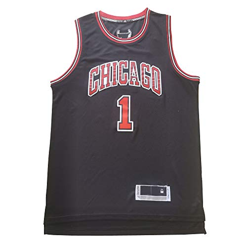 XSJY Hombres Camisetas - Chicago Bulls # 1 Derrick Rose Vintage Jerseys, Respirable Fresco Tela Alero Jerseys del Baloncesto del Chaleco Camiseta De La Tapa,B,M:170~175cm/65~75kg