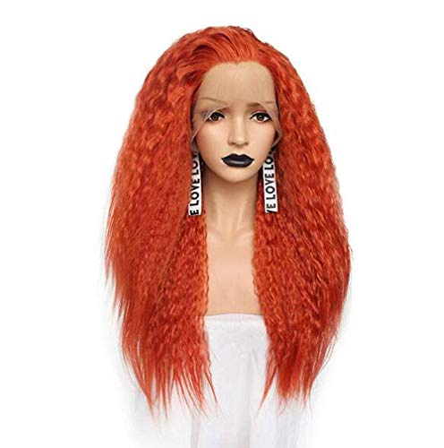 Lace Front Wig Half Simulation Lace Front Women Role Playing Free Part Wig High Temperature Fiber Long Curly Blonde Synthetic
