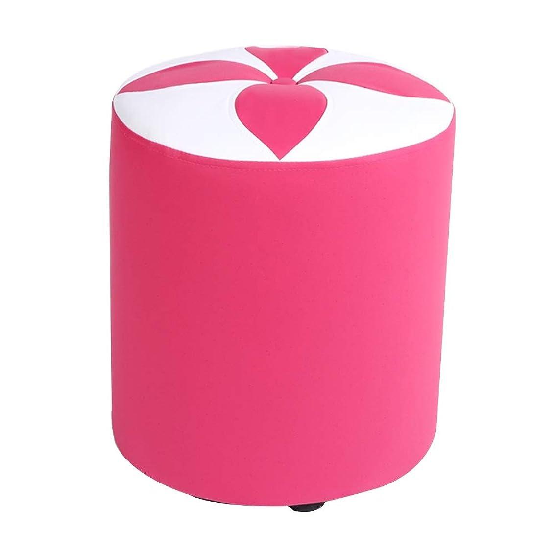 冷蔵庫頬控えるフットスツール 屋内 無垢材フレーム コーヒーテーブルスツール 無地PU リビングルーム ロースツール、 2サイズ 5色 (色 : ピンク, サイズ さいず : 31x31x35cm)