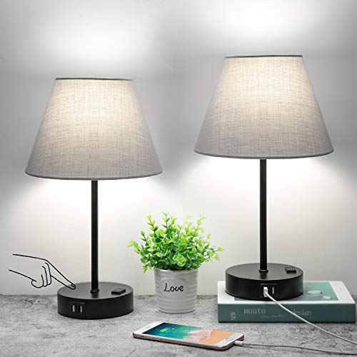 Touch Control Table Lamp Set of 2, Small Bedside Lamp with 2 USB Ports and AC Outlet, 3 Way Dimmable Nightstand Lamp Modern Gray Shade Simple Desk Lamp for Bedroom, Office or Dorm, LED Bulb Included