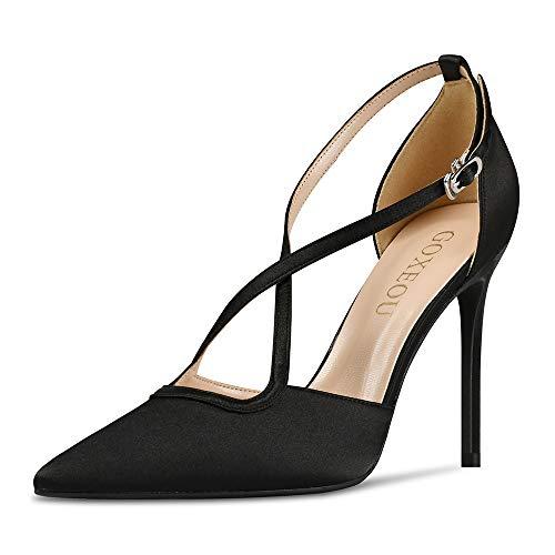 GOXEOU Zapatos de corte de seda para mujer, con correa cruzada, puntera puntiaguda, tacón de aguja, sexy, a la moda, para fiesta, sandalias de tacón casual, color Negro, talla 37 EU