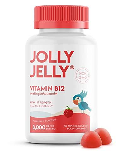 Vitamin B12 Tapioca Gummies - 3,000mcg - High Strength Methylcobalamin Gummies - Non-GMO, Gluten Free, Raspberry Flavour - 60 Vegan Gummies. 1 Pack