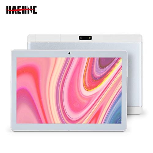 Haehne 10.1 Zoll Tablet PC, 3G Phablet, Google Android 8.1, Quad Core 2GB RAM 32GB ROM, Zwei Kameras, 1280 x 800 HD Display, 4500mAh, Bluetooth, WiFi (Silber)
