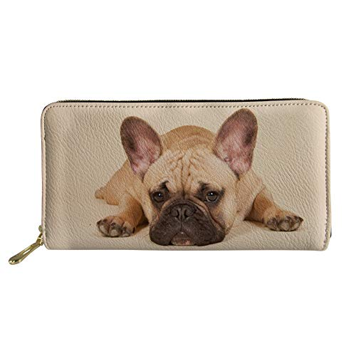 Showudesigns Leather Hand Bag Long Wallet with Money Clutch Hand Bag Zipper French Bulldog