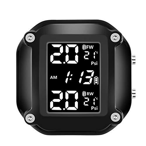 KKmoon TPMS Moto Sistema de Control de Presión de Neumáticos, Wireless Sistema de Monitor de presión de neumáticos de Motocicleta Impermeable, con 2 Sensores Externos