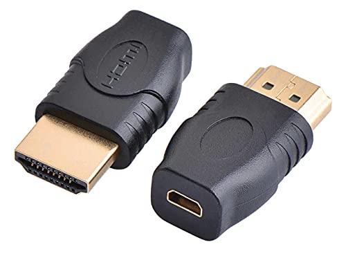 PremiumCord Adaptador Micro HDMI Tipo D a HDMI Tipo A Hembra a Macho Full HD 1080P Conectores Dorados Sin pérdida de Calidad Negro