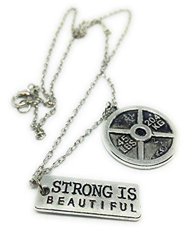 Strong is Beautiful Style 1 * Collar con mancuerna Colgante de Gimnasio...