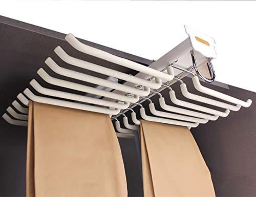 Weiß Schrank herausziehen Hosen Rack-Jeans Halter-Aufhänger-Schiene 20 Hosen Kleiderbügel mit Dämpfer for Schrank-Tiefe 460mm / 18.1inch