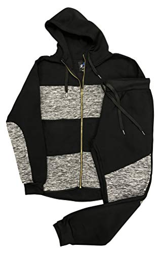 Royal Threads Canada Men's Ultra-Light Weight Sweat Jacket Sweatpants Biker Jogger Sweat Suit Fleece Suit Outfit (Black, 2XL)
