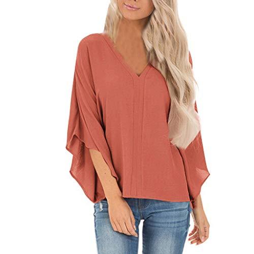 Xmiral Lange Ärmel Bluse Damen Einfarbig Unregelmäßiger Ärmel V-Ausschnitt Tops Langarmshirts Sweatshirt Hemd Pullover (Orange,XXL)