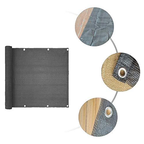pegtopone - Cubierta para balcón, protección visual, protección contra el viento y los rayos UV, 100 privacidad, con ojales, bridas de nailon y cordón, 90 x 500 cm, color negro