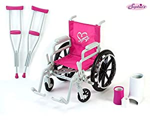 5 PIECE SET: 5 Piece Wheelchair Set with Accessories INCLUDED: Doll Wheelchair, Foot Cast, Wrist Cast, Bandage Wrap and 2 Crutches (Please note: assorted crutches in stock; some may be pink, others are silver) FEATURES: The large black wheels move fo...