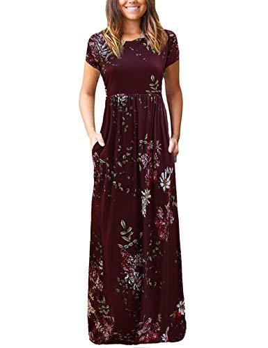 CHERFLY Femme Robe d'été Casual Longue Élégante Manche Courte avec Poches (Floral Bordeaux Rouge,XXL)