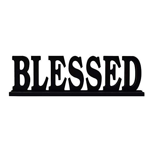 YUMBOR Black Wooden Cutout Blessed Freely Standing Sign Table Wall Décor Kitchen Tabletop Fireplace Mantel Centerpiece Decoration Standing Rustic Wood Block Letters Decoration (Blessed)