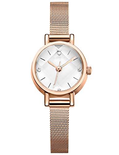 Reloj Mujer Oro Rosa Fino Acero Inoxidable Reloj Infantil Niña Impermeable Elegante Relojes de Pulsera Deportivos Malla Analogicos Reloj para Niños Esfera Blanca Fecha