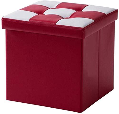 Opslag kruk Gestoffeerde voetenbank Storage Box Ottomaanse Leder voetenbank opslag kruk opklapbaar gestoffeerde voetsteun Folding Single Seat for woonkamer en slaapkamer Max.150KG - Red Multifunctione