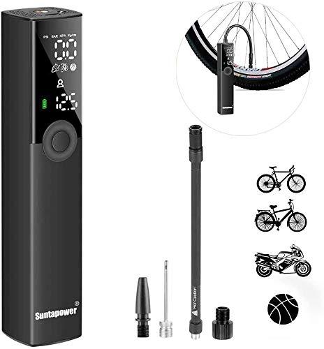 Suntapower Inflador de Neumáticos Portátil Bomba Eléctrica IInteligente y Versátil para Inflar Motocicletas de Bicicleta y Varias Bolas,No es Adecuado para la Pelota de Yoga.
