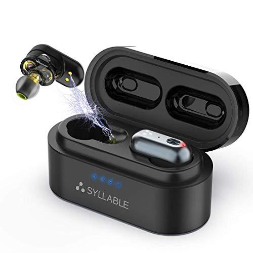 Bluetooth Kopfhörer in Ear,Syllable Kabellose Kopfhörer,QCC3020 Chip,mit Soliden Bass Sound,intelligente Rauschunterdrückung,IPX7 Wasserdichtigkeit,USB Ladebox,Bluetooth 5.0 - Black Earbuds