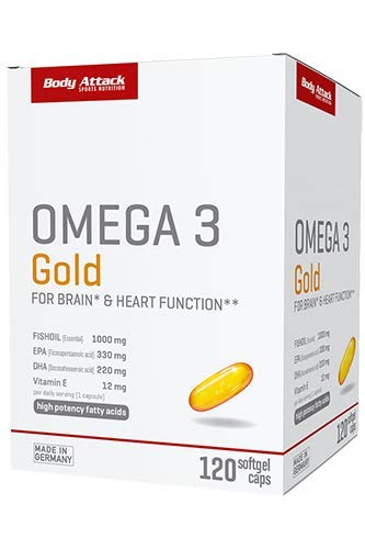 Body Attack Sports Nutrition Omega 3 Gold - 1000mg hochwertige Omega 3 Fettsäuren - 330mg EPA - hochdosiert - 120 Softgel Caps