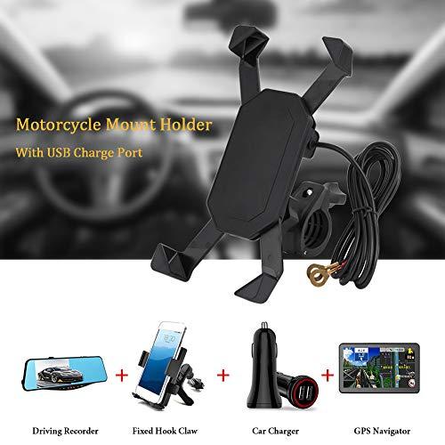 con puerto USB Soporte para teléfono móvil Soporte para teléfono, Soporte para montaje Soporte para teléfono con cargador USB, Soporte para manillar para motocicletas Bicicletas eléctricas