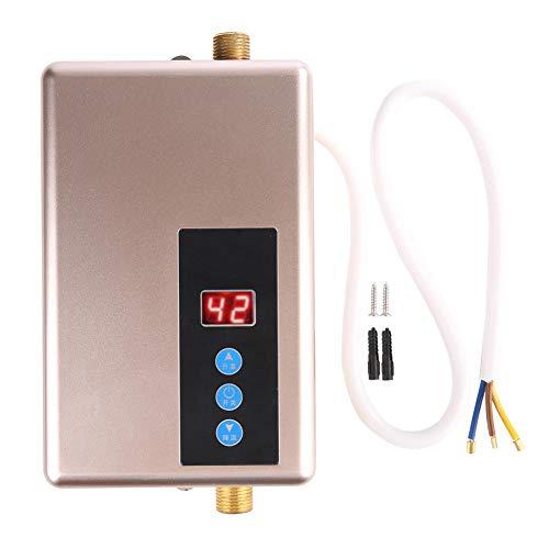 Focket Durchlauferhitzer, 220V 5.5KW Mini Elektrischer Warmwasserbereiter Automatische Abschaltung Tankless Dusche Heißwassersystem, Mehrere Schutzfunktionen für Bad Küche Waschen etc(Golden)